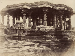 [Close view of the Nandi Pavilion of the Hoysalesvara Temple, Halebid.] 95924